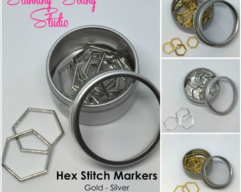 Hex Stitch Markers choice of 2 Colors & 3 sizes