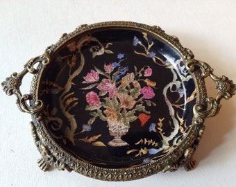 Porcelain and brass Chinese tray