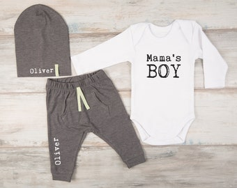 Trendy Baby Clothes, Mama's Boy Long Sleeve Bodysuit, Personalized Pants / Hat, Trendy Baby Boy Clothes, Trendy Baby Gifts, Baby Clothing