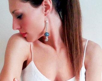 Long earrings, minimalist earrings, ceramic earrings, silver earrings, teal earrings, minimal earrings, everyday earrings, beaded earrings