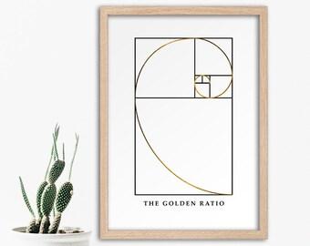 Fibonacci Sequence, Golden Ratio, Golden Spiral, Science Art, Fibonacci Numbers, Fibonacci Spiral, Modern Minimalism, Instant Download Art