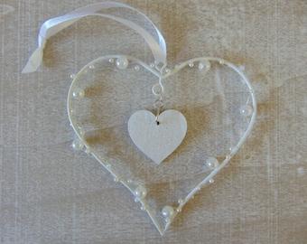 Wire Pearl Hearts