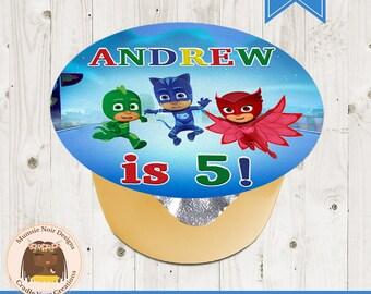 PJ Masks Applesauce Label - PJ Mask Party Favors - PJ Masks Birthday - Digital - Printable