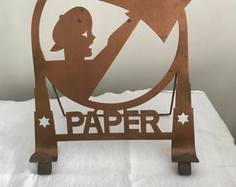 Copper NewsPaper Stand Deco Newspaper Stand Hotel Paper Stand Newsboy Vintage Desk Decor Vintage Home Decor Metal Stand for Table