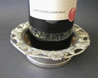 Vintage Ornate Silver Plated Champagne Wine Bottle Coaster Holder Grape Design