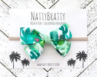 Fabric Bow Headband - Cactus Print - Baby Headband - Modern Baby Style - Bow Hairband - Nylon Headband - Baby Girl Gift