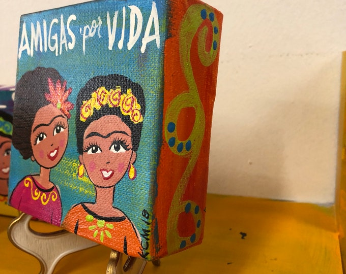 Amigas por vida Canvas Painting BLUE