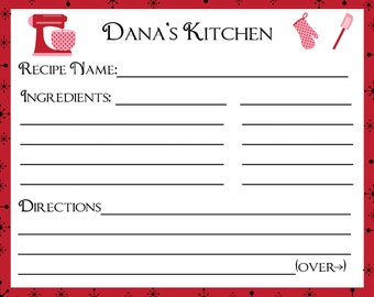 100 Personalized Recipe Cards  - New Red Retro Design