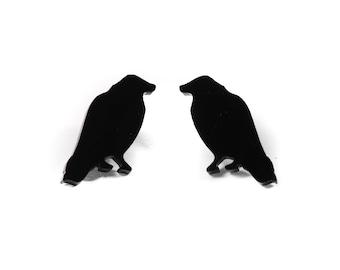 Black Acrylic Crow Hypoallergenic Post Earrings