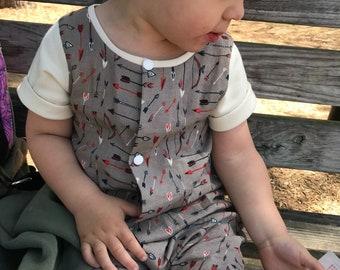 Organic Double Gauze Snap Front Romper - Toddler Romper - Organic Cotton - Eco Friendly - Boho Kids Clothes - Arrow Print Clothes
