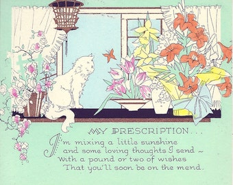1920's Get Well Postcard with Cat In a Window