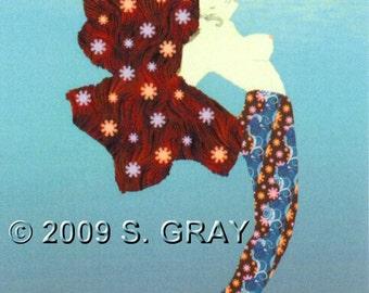 ACEO SFA Retro Mermaid digital art print fantasy underwater ocean flowers wild blue limited edition nitelvr