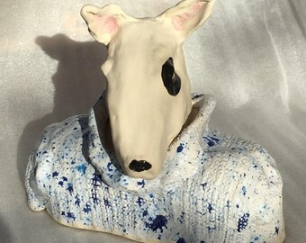 Here's Johnny a stoneware ceramic handmade cute whimsical dog by Jacquie Cross