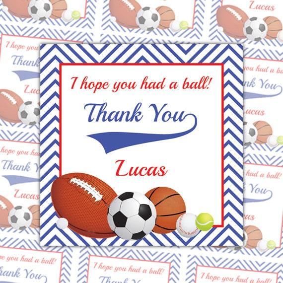 Printable sports thank you tags sports favor tags custom negle Choice Image