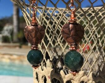 Copper Earrings, Sea Green Jade Bead Earrings, Dangle Earrings, Drop Earrings