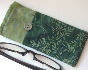 Reading Glasses Case -green batik cottons, small, soft eyeglasses sleeve, readers cozy,  watery, leafy, nature, travel accessory for purse