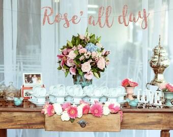 Bubbly bar banner, mimosa bar banner, champagne banner, birthday banner, wedding reception banner, open bar banner, Rose all day