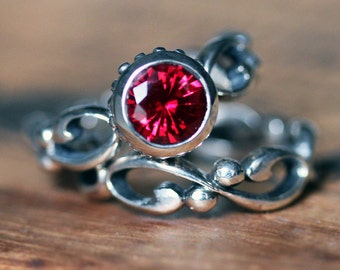 Ruby engagement ring, silver bezel engagement ring, eco friendly engagement ring, round ruby ring, chatham lab created ruby, custom