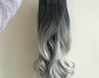 Full Head Dip dye Clip in Hair extensions Ombre 6 pcs off black to silver gray
