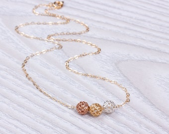 Knot necklace / Layered necklace / Bridesmaid necklace / Mixed Metal Necklace / Rose gold Knot necklace / Silver Knot necklace | Lupa