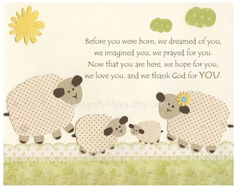 Nursery wall art, Baby Room Decor, before you were born, lamb, sheep, match the colors of sweet lambie, kids room art, children, baby sheep