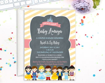 Princess and Prince Invitation, Baby Shower Invitation, Birthday Party Invitation