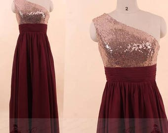 Bridesmaid Dresses Prom Dresses Evening Wedding Gown By GraceGown - Burgundy And Gold Wedding Dress