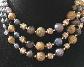 Vintage Multi Strand In Greens and Gold Sugar Beads Necklace, Signed