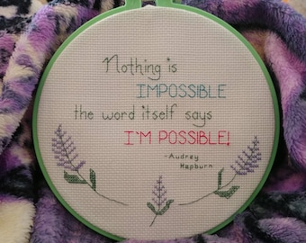 Audrey Hepburn Cross Stitch Pattern, Audrey Hepburn Quote Nothing is Impossible, PDF Format, Instant Download