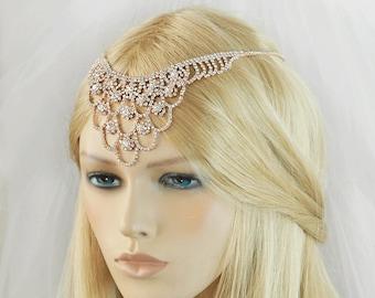 Rose Gold Wedding Hair Accessories, Bridal Headpiece, Rhinestone Headband, Hair Chain,  Hair Jewelry, Bridesmaid, Hair Jewelry-HA041