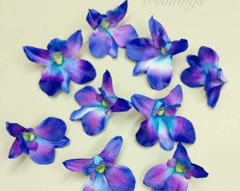 Bleu de fleurs d'orchidées, bleu orchidées bleus turquoises fleurs orchidées, orchidées de soie, fournitures de bricolage mariage, décorations de mariage