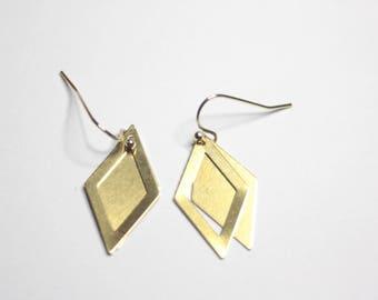 Double Diamond Earrings, Brass Diamond Shape Earrings, Ready to Ship