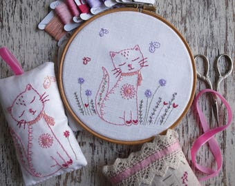 kitten hand embroidery pattern PDF