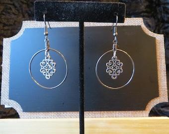 """Filigree Silver Hoop Earrings-Scroll Design Charm is Centered in 1"""" Silver Hoop Earrings-Everyday Earrings!"""