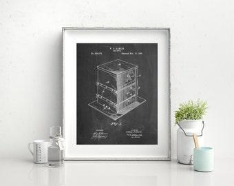 Bee Hive Exterior Patent Poster, Bee Keeper, Honey Bee, Honeycomb, Organic Honey, Farmhouse, PP0724