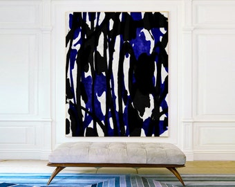 Handmade Blue black and White abstract flower oil Painting On Canvas , Minimalist Abstract Art , Large Wall Art - MODERNISMARTSTUDIO