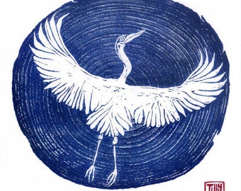 Heron card, woodblock print, Japanese, woodcut, art card, blue print, printmaking, thank you, birthday card, blank, crane, wood grain