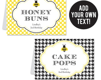 EDITABLE INSTANT DOWNLOAD Bumblebee Party Buffet Cards - Bee Party - Editable, printable table tent cards