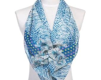 Womens Scarf, Blue Scarf, Floral Print Scarf, Leopard Print Scarf, Chiffon Scarf, Voile Scarf, Cotton Scarf, Fashion Scarf, Shawl