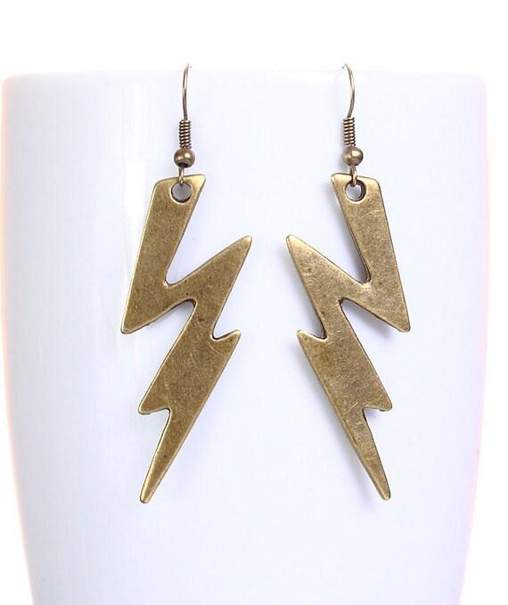 Large antique brass lightning dangle earrings (628)