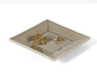 Ceramic jewelry dish, gray ring dish, square jewelry dish, gray decor dish