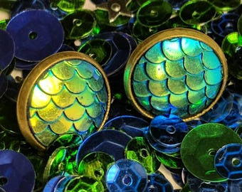 Dragon Scale Earrings-Sea