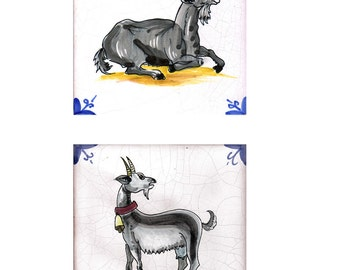 Italian Goat Tile Set