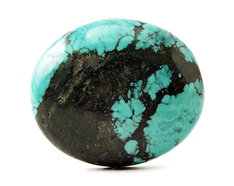 Turquoise Cabochon Stone (25mm x 21mm x 6mm) 22.5cts - Oval Cabochon - Tibetan Turquoise - Blue Turquoise