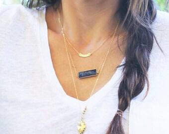 Lapis Necklace,  Boho Necklace, Gemstone Necklace, Layering Necklace, Simple Lapis Necklace, Gemstone Jewelry, Bar Necklace, lapis lazuli