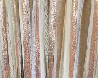 Rose Gold Sequin Garland Backdrop - Rustic Chic Wedding, Photo Prop, Curtain, Baby Shower, Party Decorations