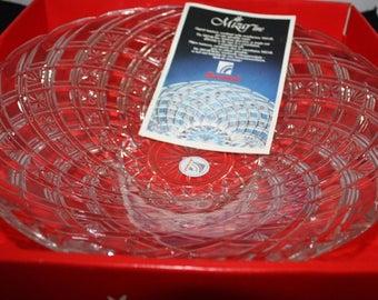 "Stunning Bormioli Mizar Crystal Glass Fruit Bowl 11 3/4"" New Old Stock Made in Italy"