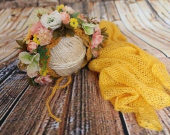 Baby Floral Bonnet and Wrap