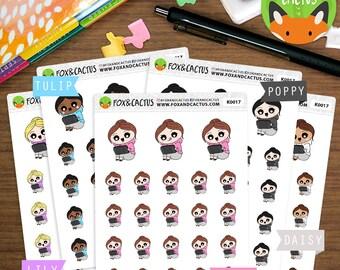 Handheld Gaming Kawaii Girls - Gamer Phone TV Video - Planner Stickers (K0017)
