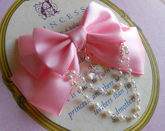 Sweet Lolita Hair clip or Brooch pink bow with glass heart and white pearl beads pearls